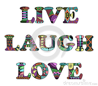 Words Live, Laugh, Love Zentangle Stylized On White ...