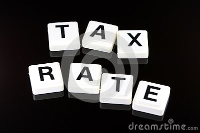 The Words Tax Rate - A Term Used For Business in Finance and Stock Market Trading