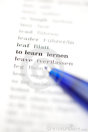 The words to learn on paper