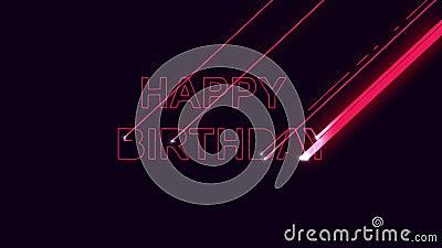 Wordt de gelukwens gelukkige verjaardag, brieven gebrand door laser stock illustratie