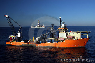 Work Boat and Drill Ship