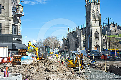 Work on Edinburgh tram lines continues Editorial Stock Photo