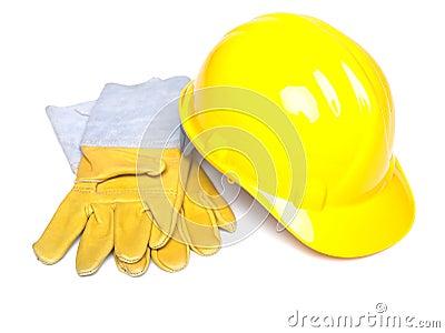 Work equipment Hardhat Hard hat helmet and glowes