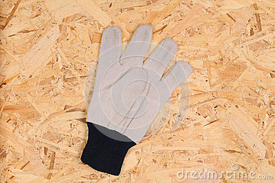 Work Glove on Plywood