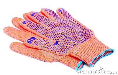 Work gloves orange colour on white