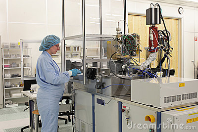 At work inside a high tech cleanroom
