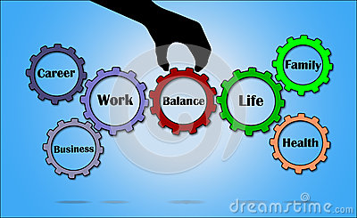 Work Life Balance Concept illustration using Gears