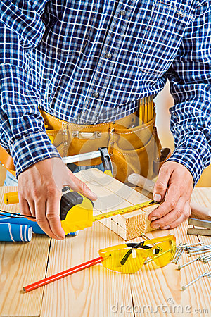 Free Work Of Carpenter. Measuring With Roulette Stock Photos - 37642163