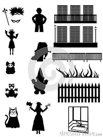 Work, Pleasure & fantasy - Vector silhouettes