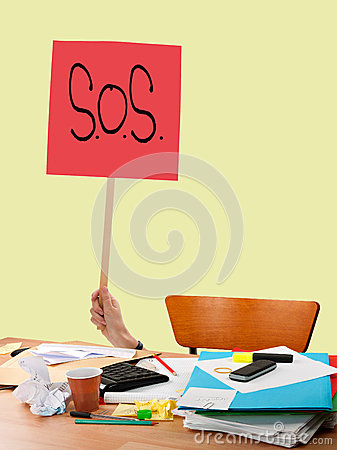 Free Work Problem, Overwork Etc. SOS Sign Over Messy Untidy Desk. Stock Photography - 48581752