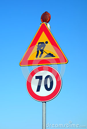 Work in Progress Speed Limit Road Signs