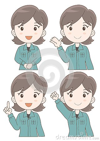 Free Work Staff Woman Expression Set Stock Images - 130498614