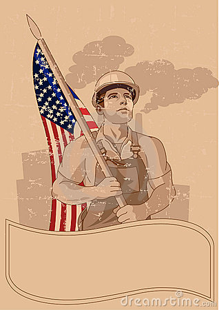 Worker  and a American flag