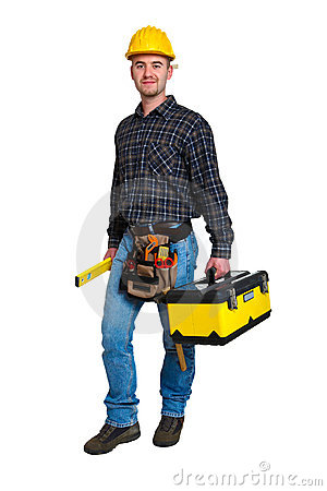 Free Worker And Tool Box Royalty Free Stock Photos - 6709248