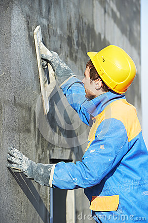 Free Worker At Plastering Facade Work Royalty Free Stock Photos - 35358758