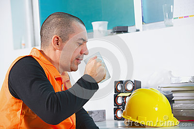 Worker on a break have rest