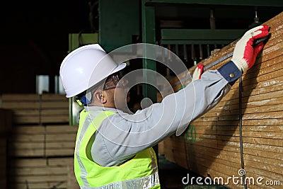 Worker carpenter measures the wood