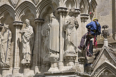 Worker on Cathedral Exterior