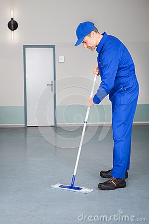 Free Worker Cleaning Floor Stock Image - 44411731