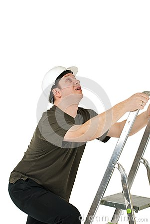 Worker climbing upwards upon ladder