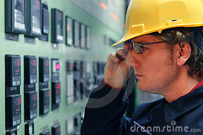Worker in a Control Room