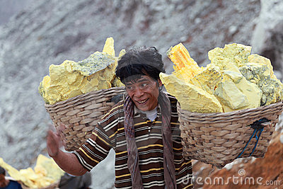 Worker At Crater Ijen Volcano Stock Photos - Image: 19425093
