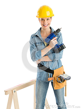 Worker With Drill And Tool Belt Standing By Work Horse