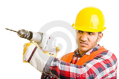 Worker drilling