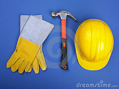Worker equipment - HardHat Hammer And Gloves