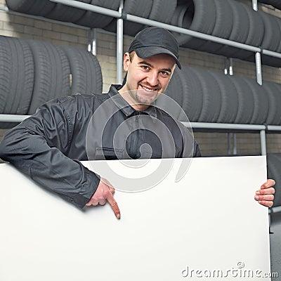 Worker in garage