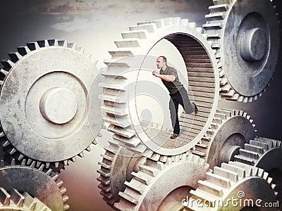 Worker on gear