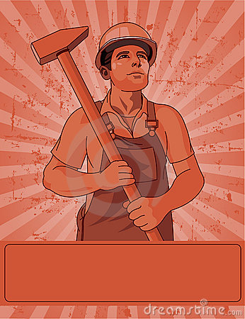 Worker  and a hammer
