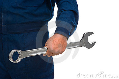 Worker hand with wrench