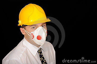 Worker with hardhat and mask