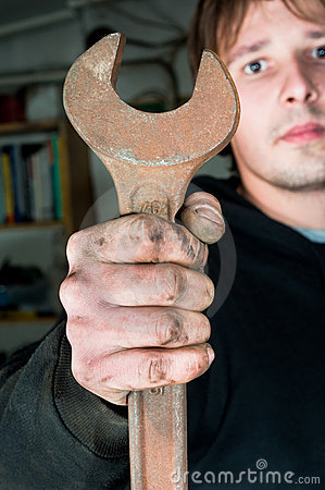 Free Worker Holding Spanner Stock Images - 17240464