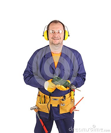 Free Worker In Ear Muffs And Glasses With Drill. Royalty Free Stock Photography - 37562187