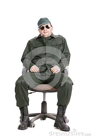 Free Worker In Glasses Sitting On Chair. Royalty Free Stock Image - 36993566