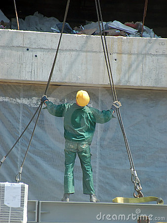 Worker with lifting ropes