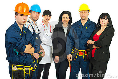 Worker man and different careers team