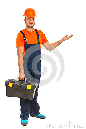 Worker man making presentation
