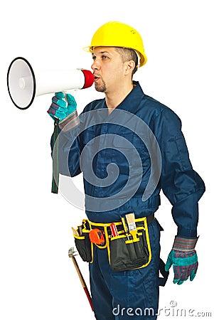 Worker man shouting in loudspeaker