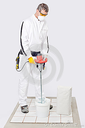 Worker mix cement tile adhesive