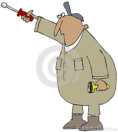 Worker with a nut driver