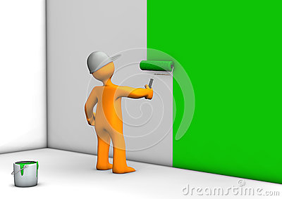 Worker painting wall green