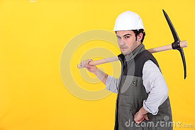 Worker with pick-axe