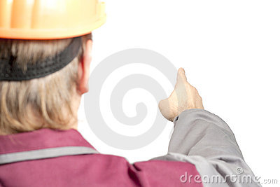 Worker pointing direction with his finger