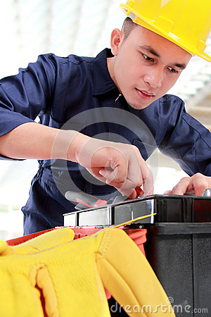 Worker prepare equipment