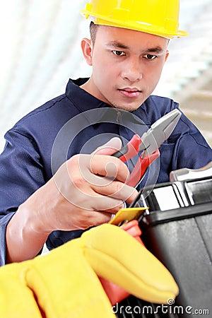 Worker prepare equipment