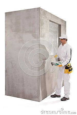 Worker preparing a putty