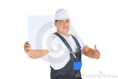 Worker presenting empty board and making ok sing